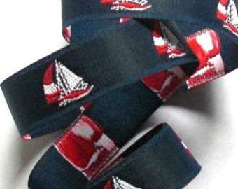 "RED and WHITE SAILBOATS on Navy Jacquard Ribbon - 7/8"""