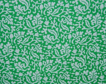 Timeless Treasures fabric Green and White VINES and FLOWERS