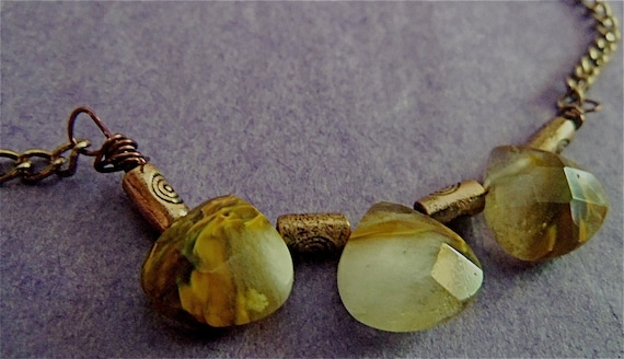 Necklace Volcanic Quartz Faceted Heart  Briolette Tribal Earthy Rustic Antiqued Brass