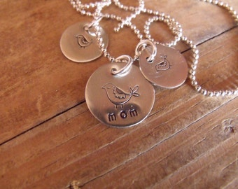 Personalized Hand Stamped Mommy Bird Necklace