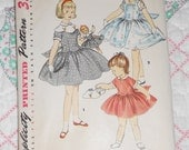 Reserved for Krissy 1950s Rockabilly Girls and Doll Dress Pattern w/ Embroidery Transfers, Sweet Sue & Binnie Doll Patterns,Simplicity 1367