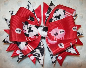 Boutique Bow - Moo Cow & Pig Red/Black/White