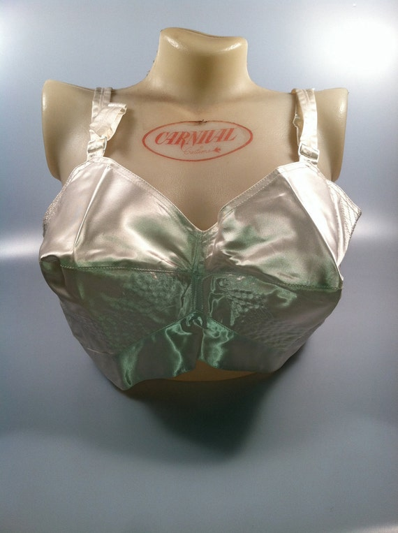 Satin Bullet Bra by Exquisite Form Brassieres Circle Stitched 1950s Vintage Deadstock