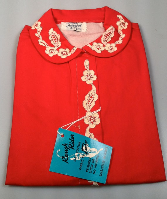 1950s Vintage Girl's Blouse Red Cotton & Floral Appliques Deadstock  NOS Original JUDY KENT Creation
