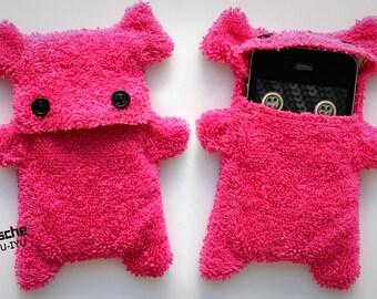 Fellfische - flauschige Iphone 4, 3 Handytasche - Pink