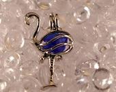 Cobalt Blue Sea Glass Silver Locket Pendant Flamingo