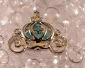 Aqua Sea Glass Silver Locket Pendant Carriage