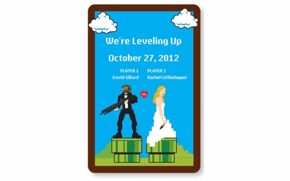 8-bit fun Wedding Invitation Postcard