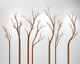 Large Wall Bare Winter Tree Decal Forest Kids Vinyl Sticker Removable (7 trees) 7 foot tall 1110