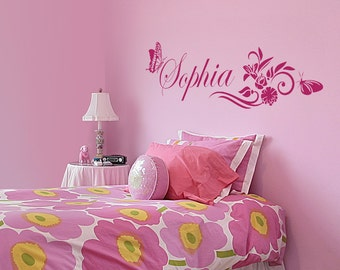 Personalized Name and Butterflies Blossom Custom Girls Nursery Wall Decal #1104