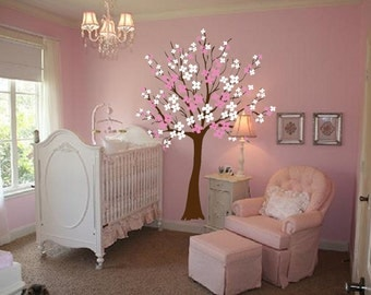Large Wall Tree Nursery Decal Dogwood Magnolia Cherry Blossom Flowers 1116 (5 feet tall)
