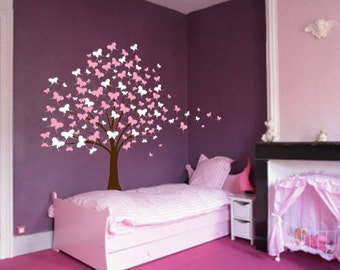 Large Wall Tree Baby Nursery Decal Butterfly Cherry Blossom 1139 (7 foot tall)