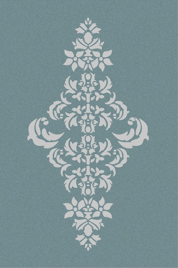 Large Wall Damask Stencil Pattern Faux Mural 1050