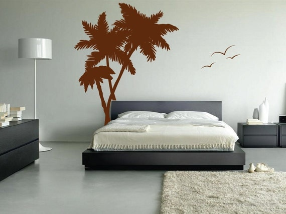Palm Coconut Tree Wall Decal with seagull birds art (6 feet tall)1114