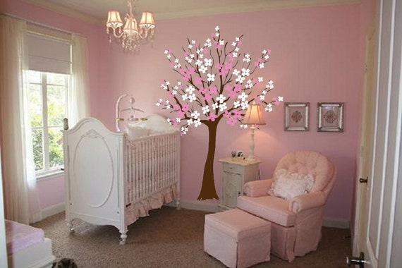 Large Wall Tree Nursery Decal Dogwood Magnolia Cherry Blossom Flowers 1116 (6 feet tall)