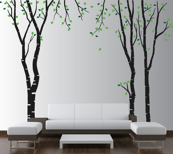 Large Wall Birch Tree Decal Forest Kids Vinyl Sticker Removable with Leaves Branches 1119 (8 foot tall)