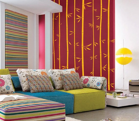 Large Wall Bamboo Tree Decal Forest Kids Vinyl Sticker Removable with Leaves 1129 (8 feet tall)
