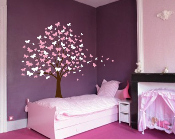 Large Wall Tree Baby Nursery Decal Butterfly Cherry Blossom 1139 (5 foot tall)
