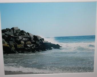 8x10  of Carlsbad, California: Pacific Ocean, rocks, waves