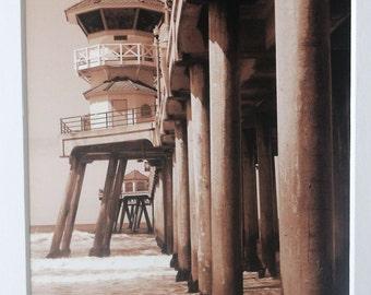 5x7 sepia photo of Huntington Beach Pier, ocean, California, beach