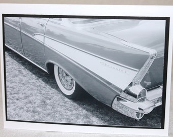 Photo card, 1957 Chevy, black and white