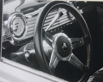 5x7 classic car, steering wheel, Chevy, black and white