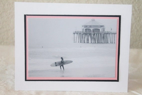 photo card, black and white, surfer girl, Huntington Beach,