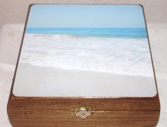 Jewelry box, wooden box, treasure box, keepsake box, memory box, trinket box, ocean, beach,