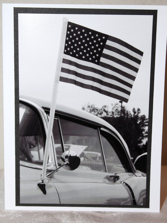 Photo Card vintage car American Flag Black and White