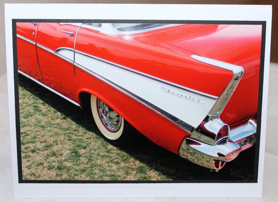 Photo card, red 57 Chevy, classic car