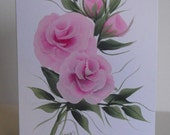 Mothers Day Hand Painted Pink Rose Greeting Card