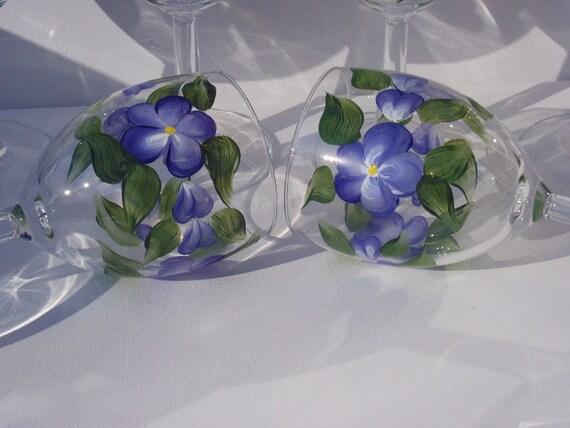 Wine Glasses Summer Blue Large Hand Painted  set of 6 - 11 3/4 oz