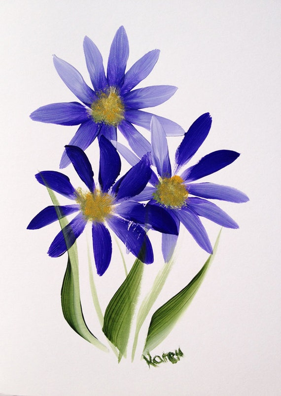Hand Painted Blue Daisy Greeting Card, Note Card Blank Card