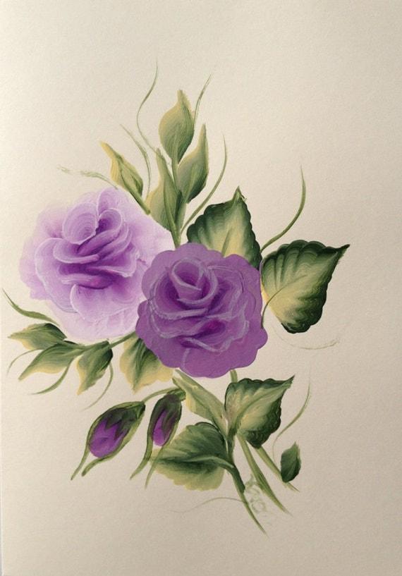 Hand Painted Purple Rose Greeting Card Cream Card