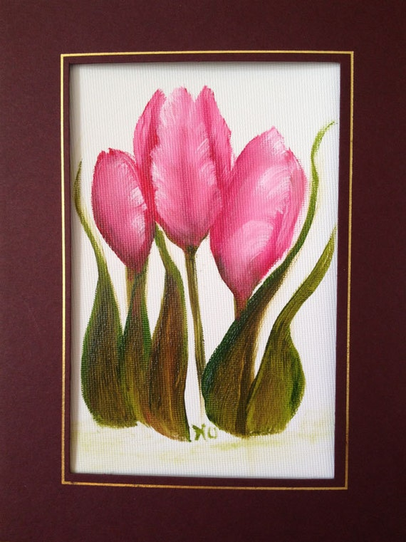 Pink Tulips Oil Painting on Canvas Greeting Card