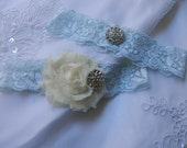 Bridal Lace Garter Set- Wedding Garter - Ivory Garter