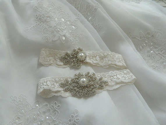 Stretch Lace Wedding Garter with pearl and rhinestone applique centering