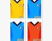 Star Trek Kirk, Spock, Bones & Scotty Uniform Prints - set of 4