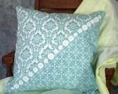 Buttons Aqua Damask 18 inch Pillow Cover