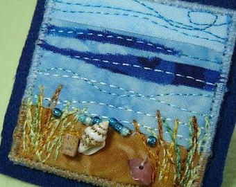 Seascape Beach Ocean Miniature Landscape Fabric Art Pin