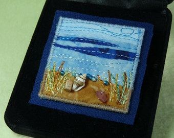 Seascape Beach Ocean Miniature Landscape Fabric Art Pin