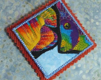 Ocean Sea Life Tropical Rainbow Fish Fabric Art Brooch