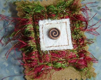 Crimson Red Forrest Green Copper Swirl Bead Fiber Art Brooch