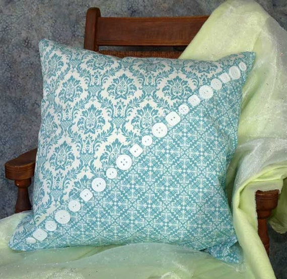 Buttons Aqua Damask 18 inch Pillow Cover