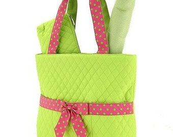 Diaper Bag  Lime and hot Pink Quilted  3 piece set-Makes cute purse or tote-NOT PERSONALIZED