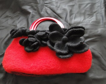 Handknit, Felted, Gorgeous Red Bag with Black Flowers