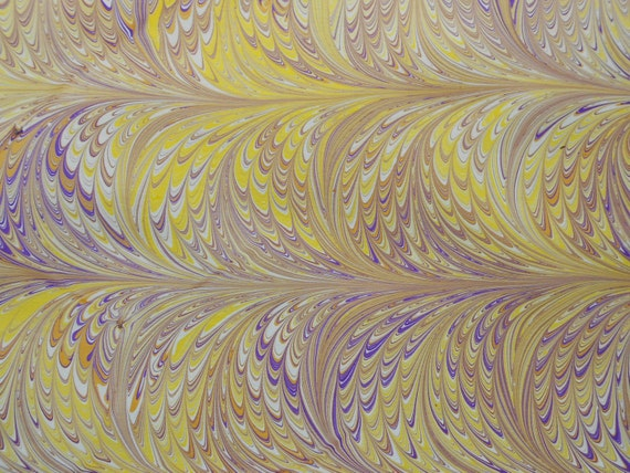 Yellow Fountains:  Hand Marbled Paper - Yellows, purples, browns on cream card stock
