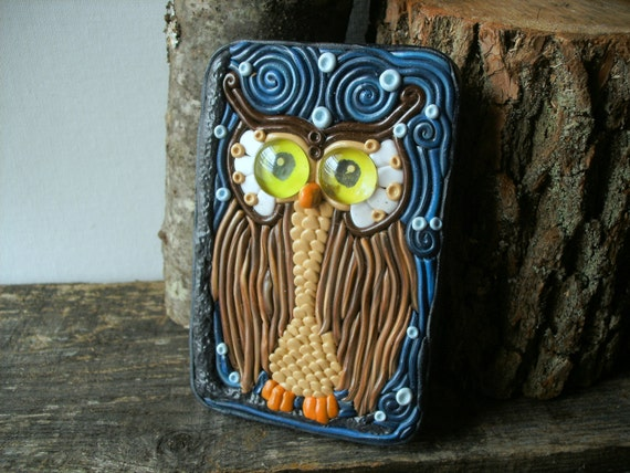 "Cigarette Case or Wallet OOAK""Archimedes the Owl"" Metal Tin Hand-Decorated with Polymer Clay"