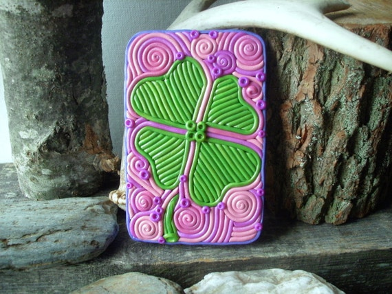 "Clover Cigarette Case Wallet - OOAK ""Lucky Clover"" Metal Tin Hand-Decorated with Polymer Clay"
