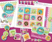 Owl Baby Shower DIY Party Printables Package. Pink, Orange, and Green, Aqua Chevron. Owl themed party printables customized just for you.